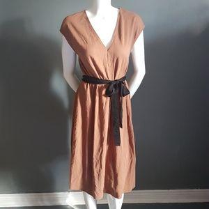 Zara Cotton Belted Midi Dress
